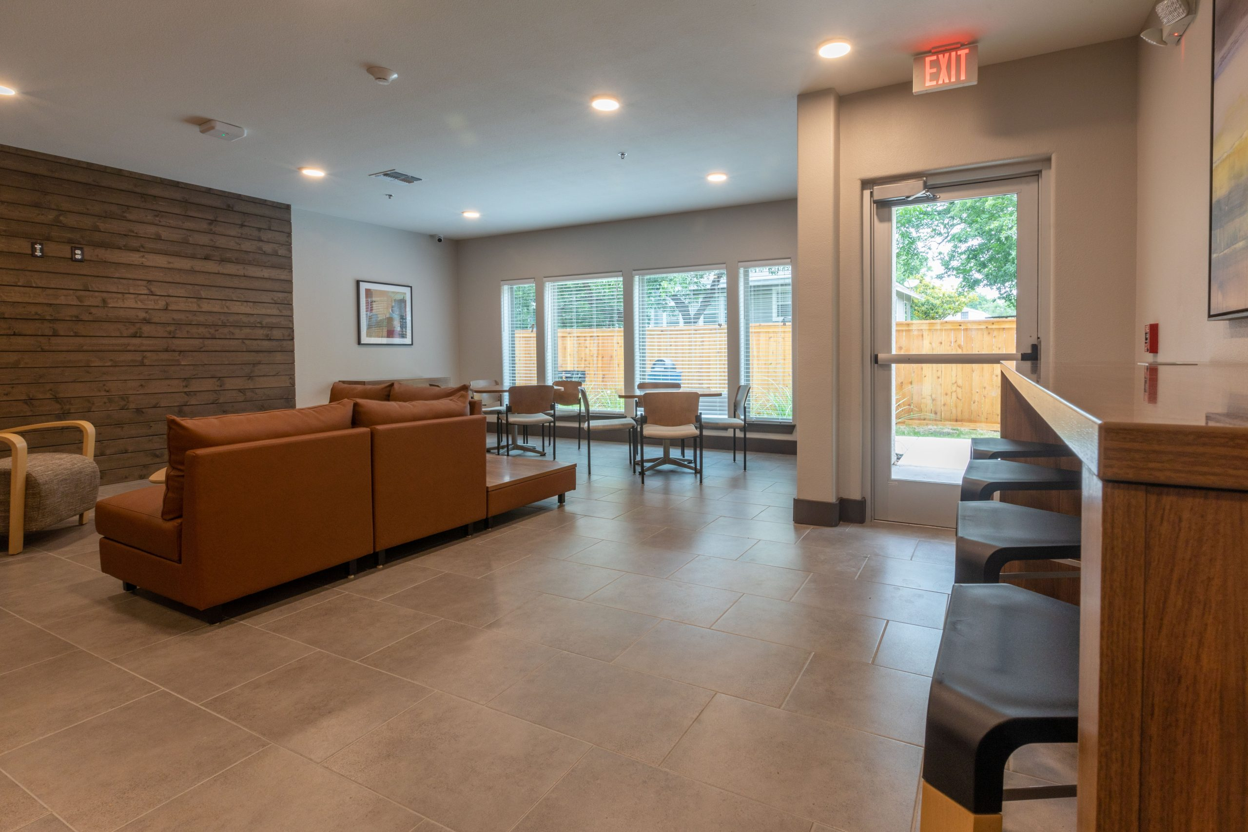 Countertop with stools in community room