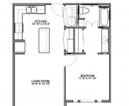 Bedroom A-1, 1 Bedroom, 1 Bath