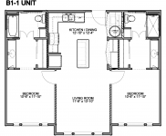 Bedroom B-1, 2 Bedrooms, 2 Baths