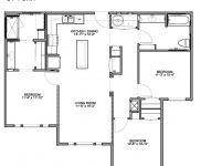 Bedroom C-1, 3 Bedrooms, 2 Baths